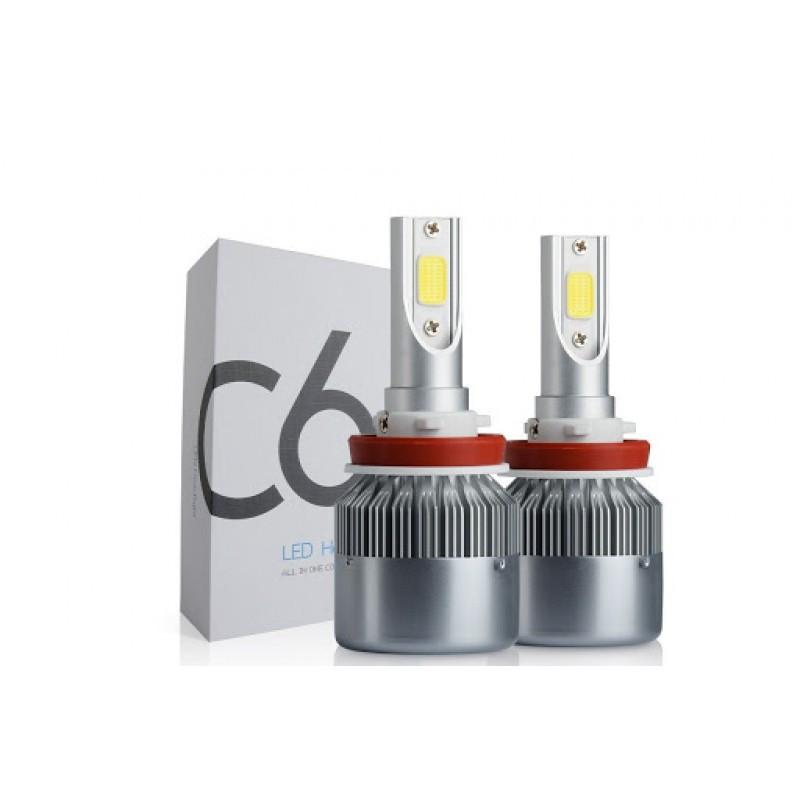 Світлодіодні автомобільні LED лампи C6 H8 для фар авто комплект світлодіодних лід ламп автолампи з цоколем