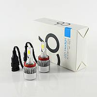 Світлодіодні автомобільні LED лампи C6 H8 для фар авто комплект світлодіодних лід ламп автолампи з цоколем, фото 2