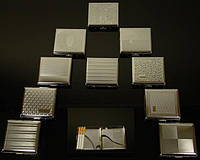 Портсигар 80533 д.18 KS сигарет 85мм, 9.0х8.5 см, металл/насечка, 10 диз-в, пруж