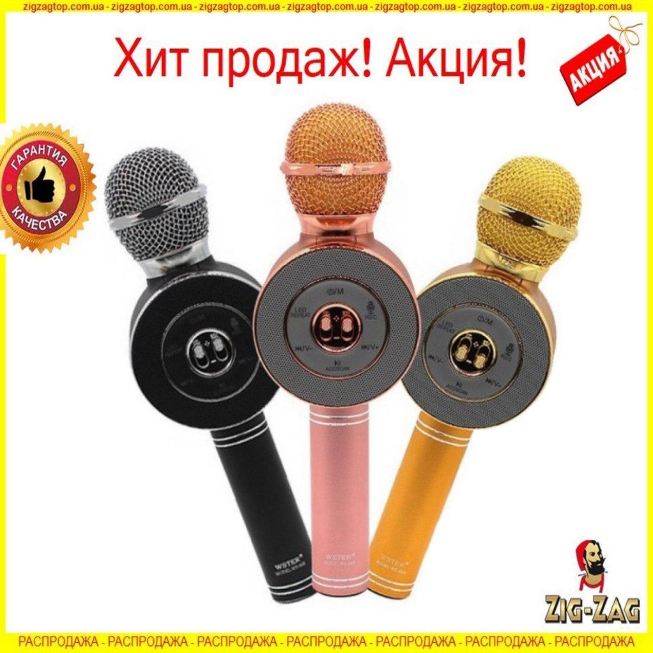 Беспроводной микрофон WS-668 Bluetooth портативный караоке Блютуз (колонкой) совместима с Android, iOS NEW