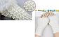 Вязані мітенки з хутром, білого кольору, фото 2