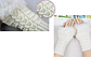 Вязаные митенки с мехом, белого цвета, фото 2