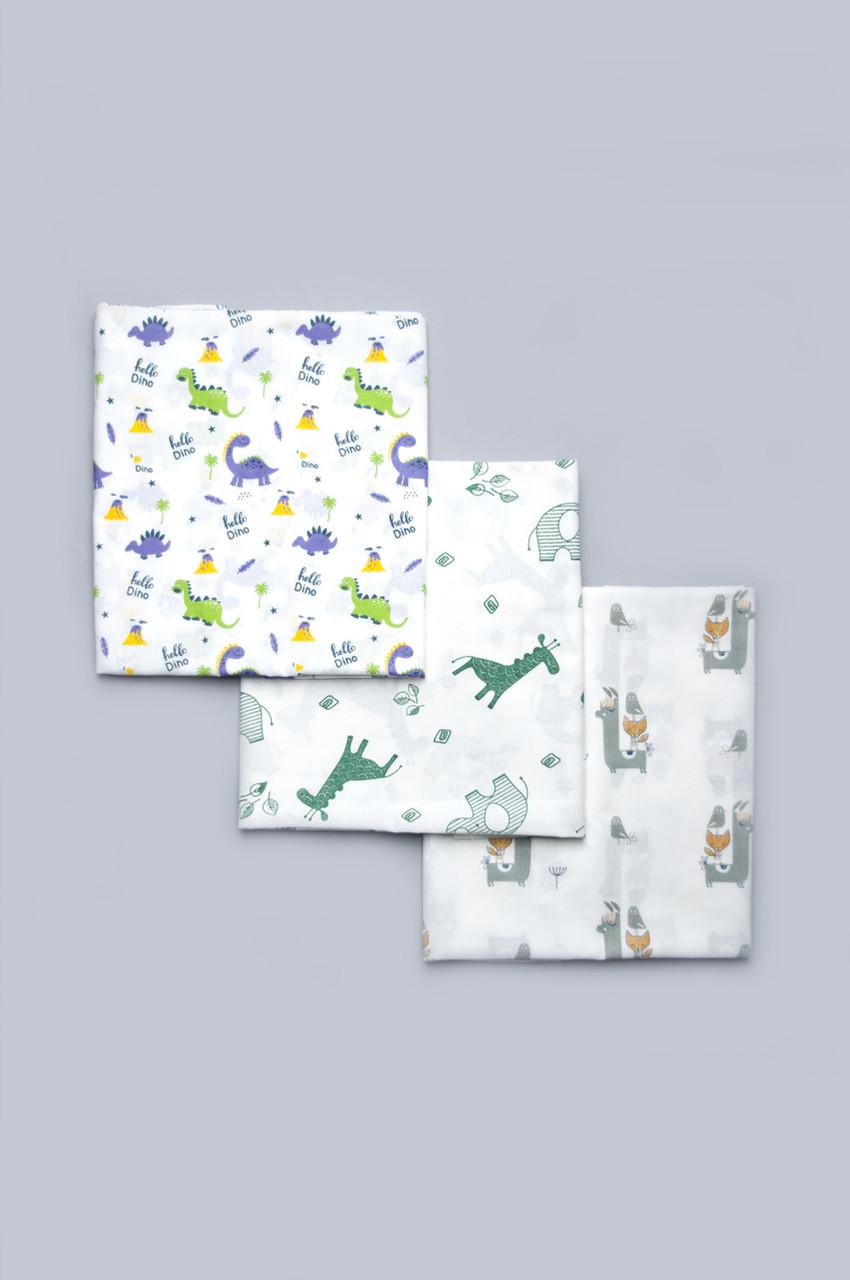 Комплект из 3 ситцевых пеленок для мальчика