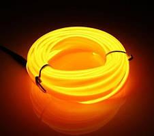 Гнучкий світлодіодний неон Жовтий Neon Glow Light Yellow - 3 метра стрічки на батарейках 2 AA