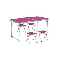 Стіл туристичний посилений складаний з чотирма стільцями рожевий