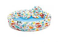 Бассейны Intex Бассейн надувной Intex 59469 «Аквариум» детский 132*28 см, круглый с мячом и кругом 248 л