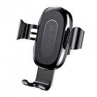 Автотримач для телефону з бездротовою зарядкою Baseus Gravity Holder Black (WXYL-01)