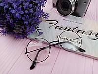 Имидж очки прозрачные круглые в черной оправе