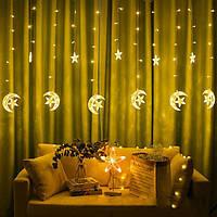 Ночник в детскую на окно Луна и Звёзды 138 LED 3 м Золотая