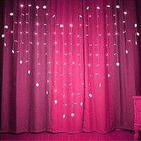 Ночник в комнату в форме сердца 3х2 м Розовая, 8 режимов, от сети