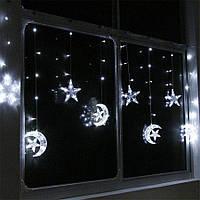 Нічник в дитячу на вікно Місяць і Зірки 138 LED 3 м Білий