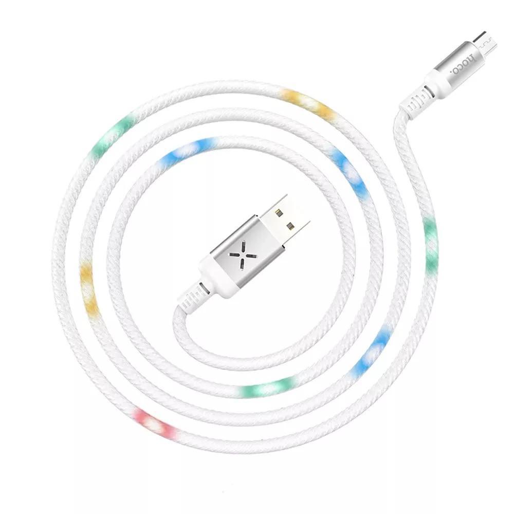 Кабель со звуковым сенсором и LED подсветкой HOCO U63 Spirit Micro-USB 2,4A 1,2м белый