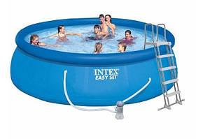 Бассейн Intex 26168 надувной 457 х 122 см, фильтр-насос 3 785 л/ч, лестница, тент, подстилка