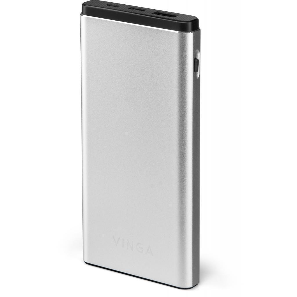 УМБ Power bank портативное зарядное устройство Vinga 10000 mAh QC3.0 PD aluminium silver (BTPB1010QCALS)