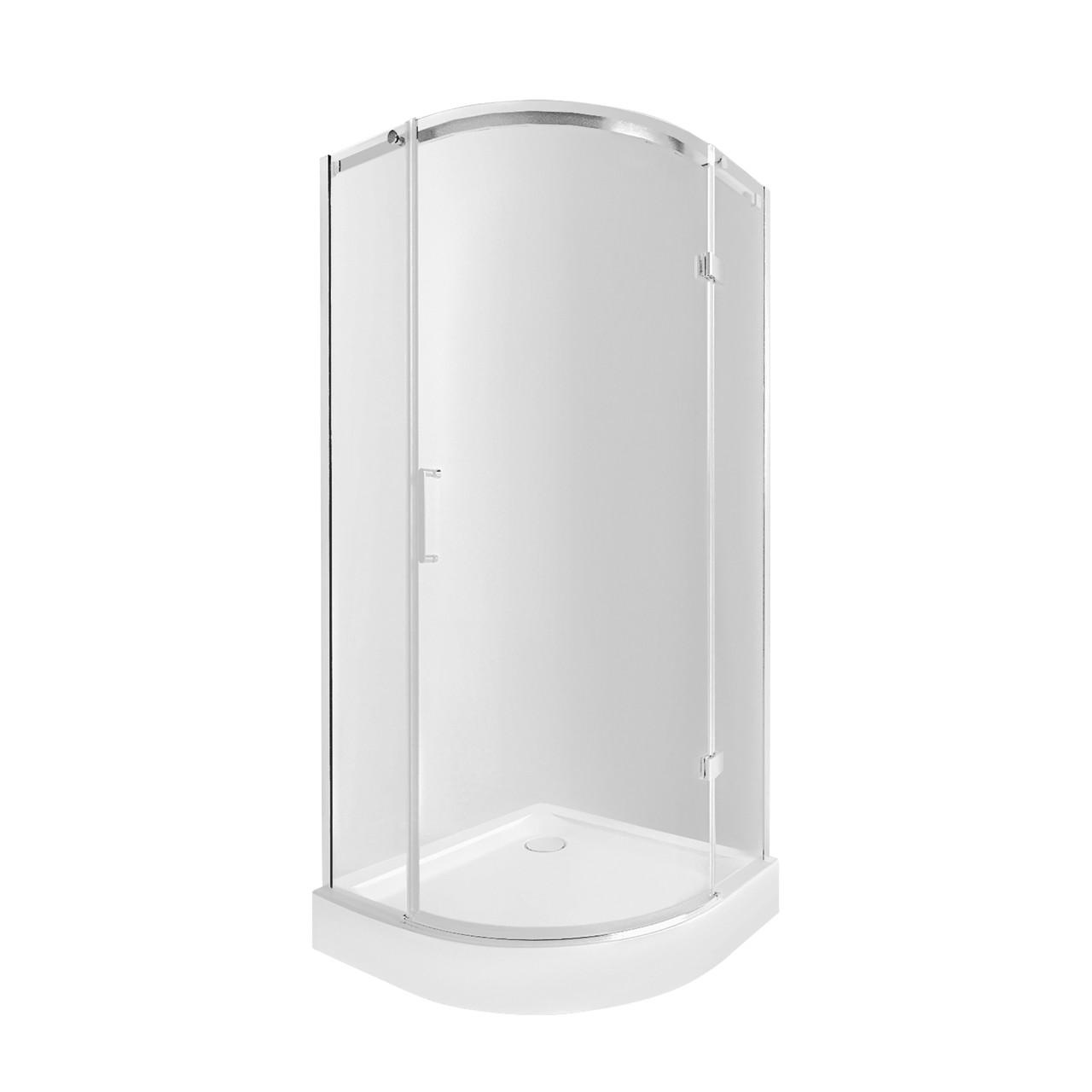 Набір Qtap душова кабіна Virgo CRM1099AC8 Clear 90х90 + піддон Uniarc 309915 з сифоном