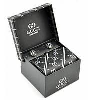 Подарочный набор: галстук, запонки, платок Gucci