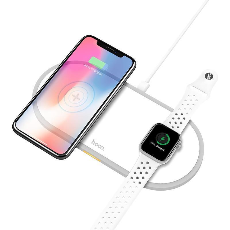 Беспроводное зарядное устройство Hoco CW20 Wireless Charger 2 в 1 для Apple iPhone и Apple Watch White