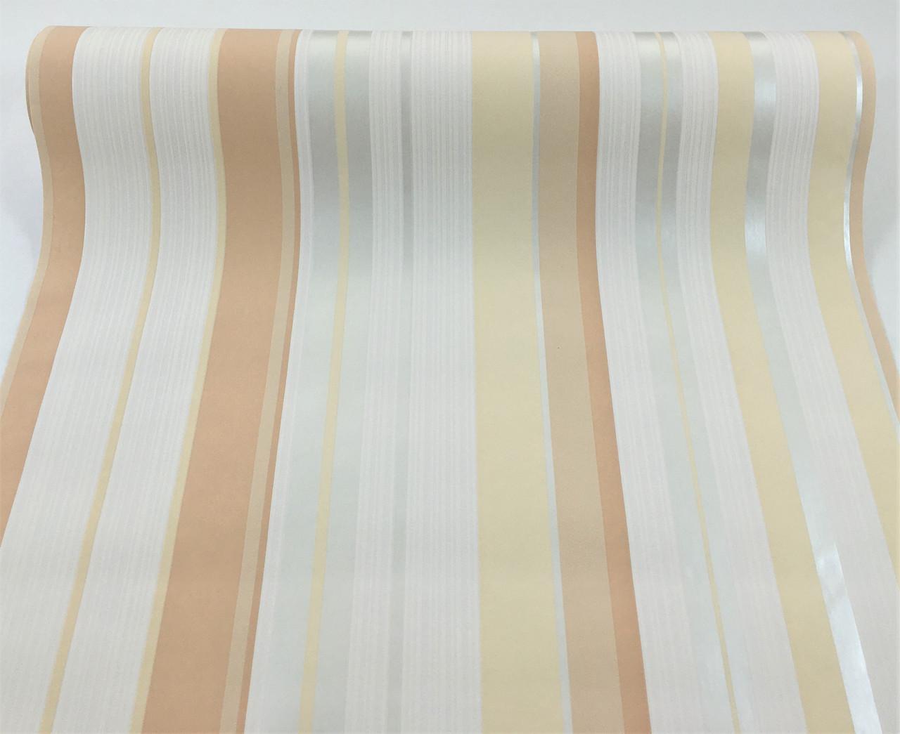 Світлі німецькі шпалери 586247, в персикову і бежеву смужку на білому, миються вінілові на флізелін