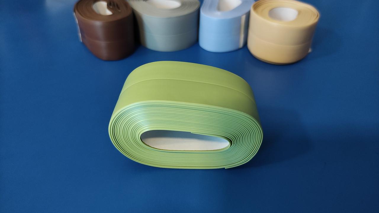 Лента бордюрная для ванн самоклеющаяся 35мм х 3м, Лента изолятор для кухни. Липкая лента цветная.Зелёная