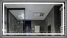 Зеркало с подсветкой DUSEL LED DE-M0061S1 Silver 80смх65 (cенсорное включение+подогрев+часы/темп)
