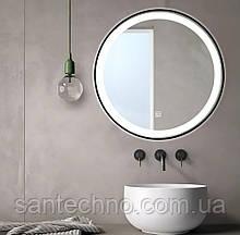 Зеркало круглое с подсветкой DUSEL LED DE-M2071D Black 80смх80см сенсорное включение+подогрев+часы/темп