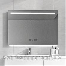 Зеркало с подсветкой  DUSEL LED DE-M3021 80смх65см сенсорное включение+подогрев+часы/темп