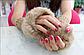 Вязаные коричневые митенки (перчатки без пальцев), фото 2