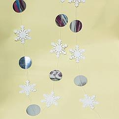 Гірлянда з сніжинки + паєтки 2 метри