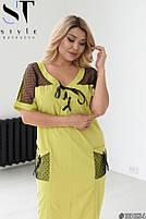 Прямое женское платье с V-образным вырезом и вставками из сетки с 48 по 58 размер, фото 2
