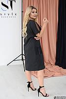 Прямое женское платье с V-образным вырезом и вставками из сетки с 48 по 58 размер, фото 3