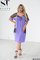 Прямое женское платье с V-образным вырезом и вставками из сетки с 48 по 58 размер, фото 4