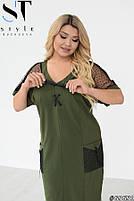 Прямое женское платье с V-образным вырезом и вставками из сетки с 48 по 58 размер, фото 5