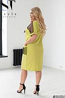 Прямое женское платье с V-образным вырезом и вставками из сетки с 48 по 58 размер, фото 6