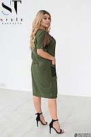 Прямое женское платье с V-образным вырезом и вставками из сетки с 48 по 58 размер, фото 8