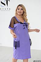 Прямое женское платье с V-образным вырезом и вставками из сетки с 48 по 58 размер, фото 9