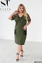 Прямое женское платье с V-образным вырезом и вставками из сетки с 48 по 58 размер, фото 10
