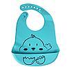 Силіконовий слюнявчик з кишенею Курча (блакитний)