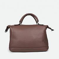 Женская сумка квадратная средняя кожаная коричневая 81082