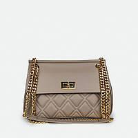 Женская сумка стеганая бежевая кожаная 8877(753)