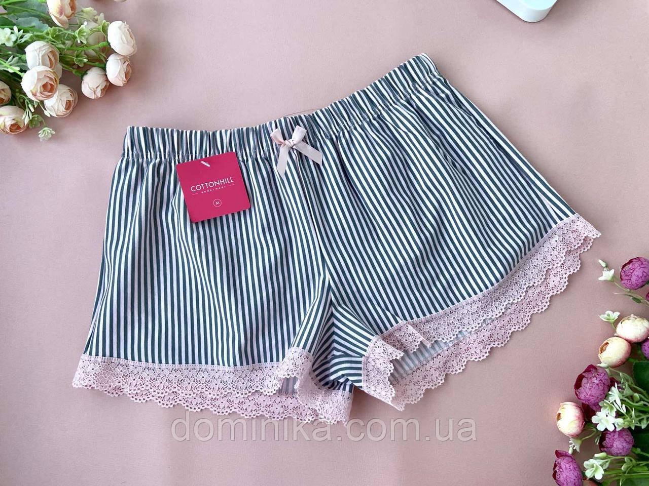 Розмір XL Сіро рожеві піжамні шорти з мереживом для дому та сну