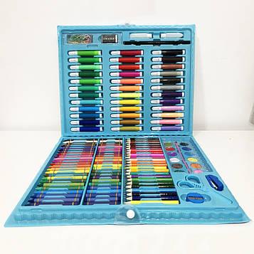 Художній набір валізу для творчості 208 предметів. Колір: блакитний