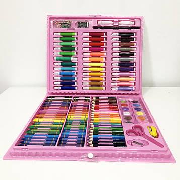 Художній набір валізу для творчості 208 предметів. Колір: рожевий