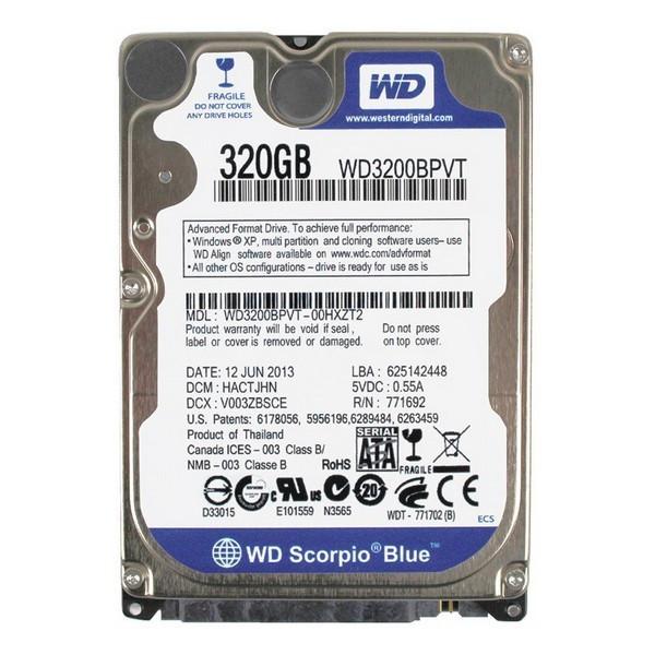 Жесткий диск внутренний HDD 320 GB WD Scorpio Blue (WD3200BPVT)
