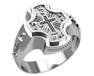 Кольцо серебряное Православное 30310