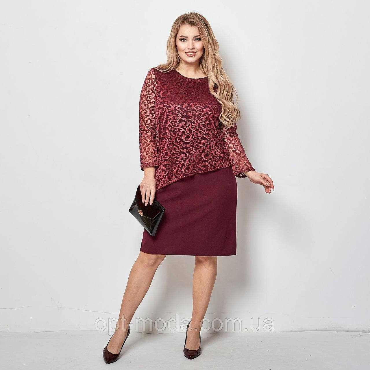 Повсякденні сукні оптом - 058-мас - Стильне ошатне женкое сукні великих розмірів