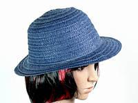 Солом'яний капелюх Бебе 29 см синій 113076 Найкраща якість