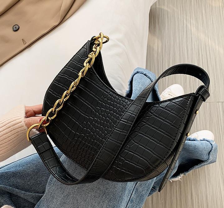 Женская сумка слинг, Бананка сумка для девушки, мини сумочка багет под рептилию