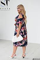 Женственное платье в цветочек с вырезами на плечах с 50 по 60 размер, фото 2
