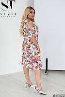 Женственное платье в цветочек с вырезами на плечах с 50 по 60 размер, фото 3