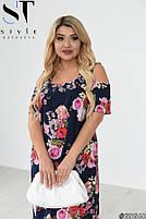 Женственное платье в цветочек с вырезами на плечах с 50 по 60 размер, фото 5
